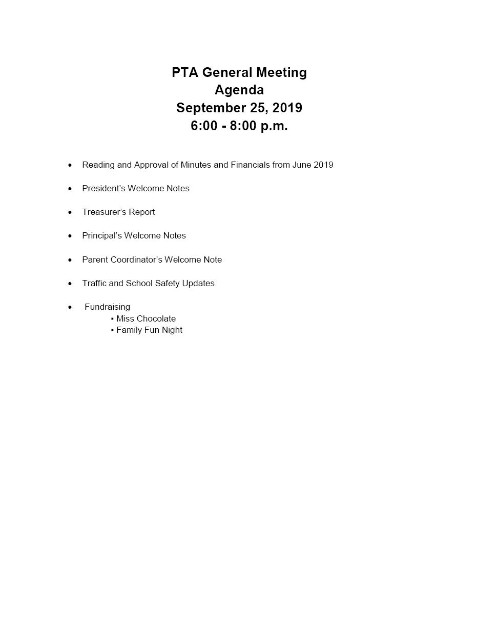 Please attend our PTA Meeting on September 25, 2019.