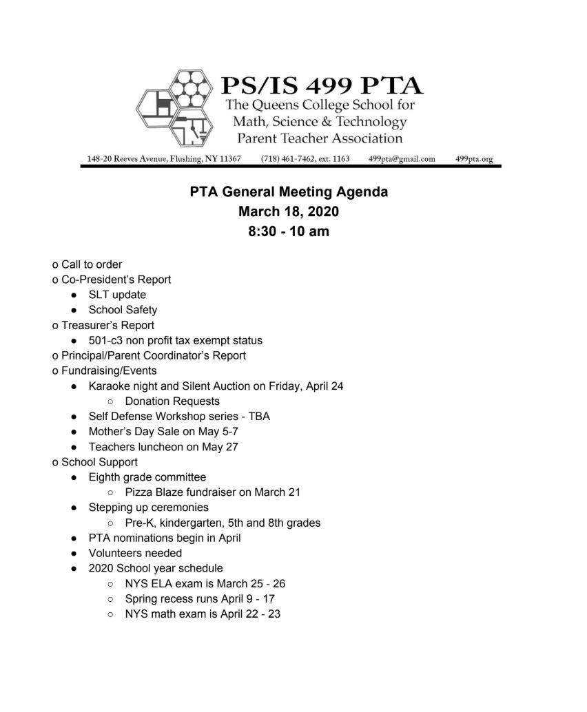 PTA Meeting – March 18, 2020