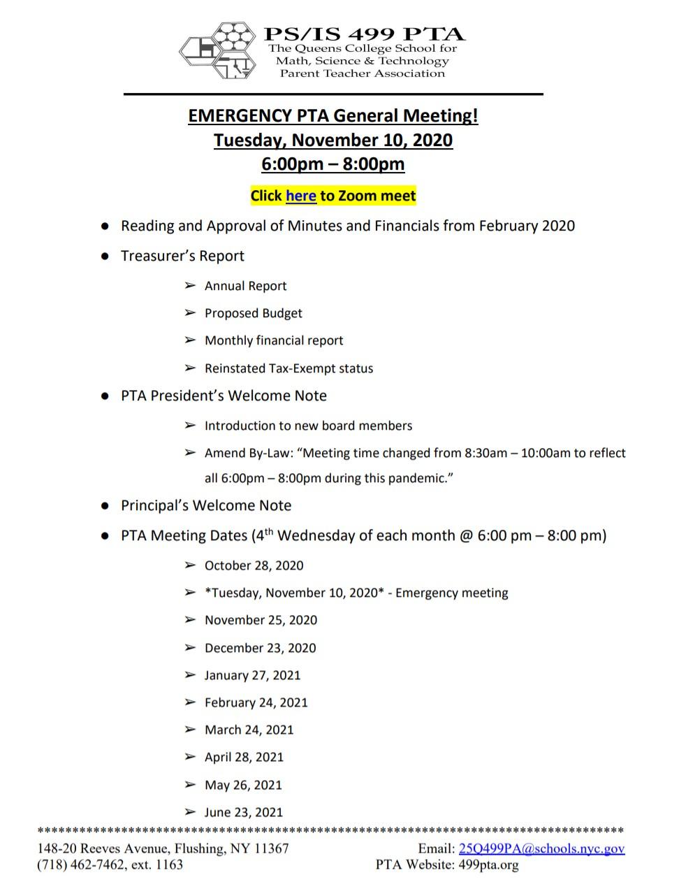 Expedited PTA Meeting Tonight!