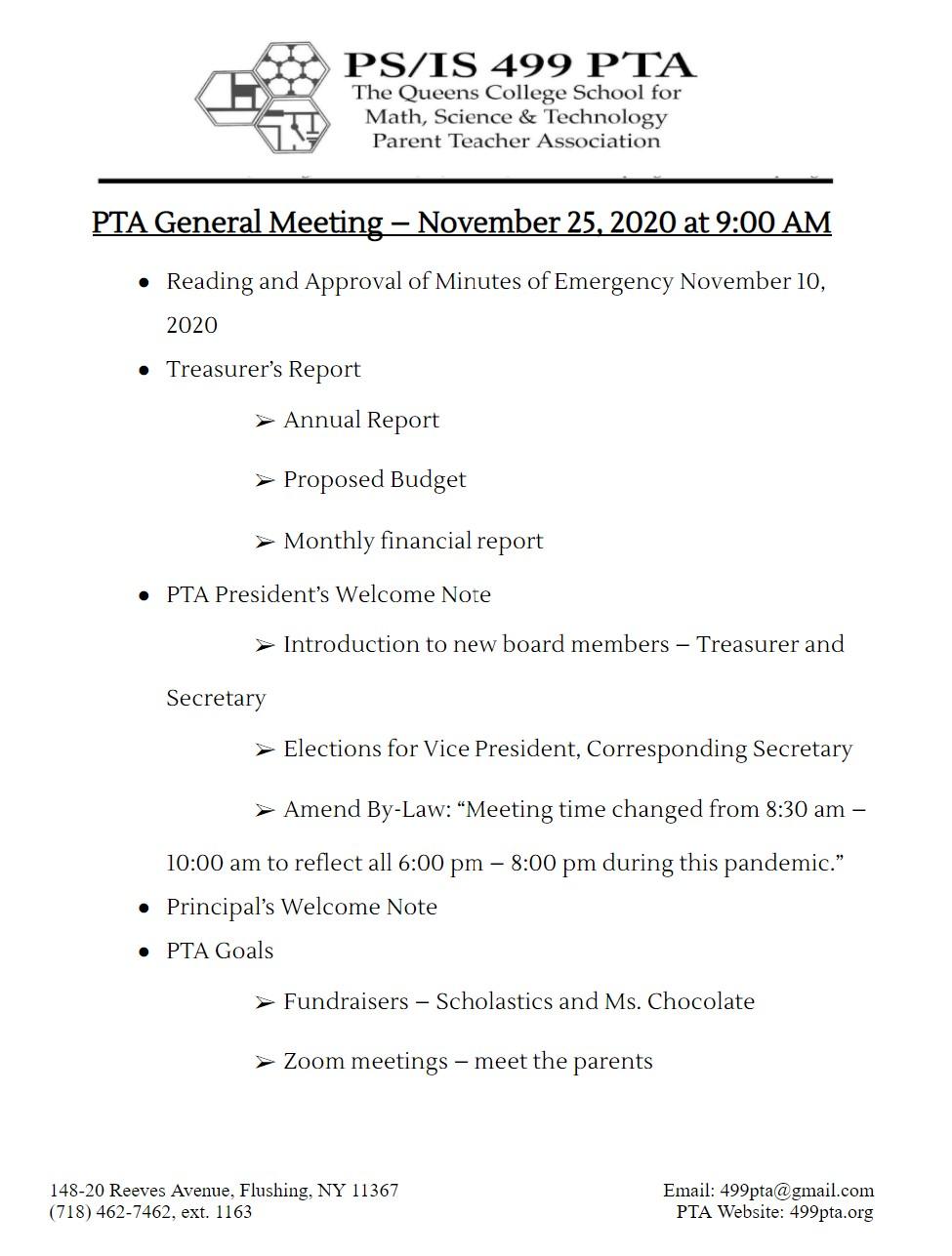 PTA Meeting – November 25, 2020 at 9:00 AM
